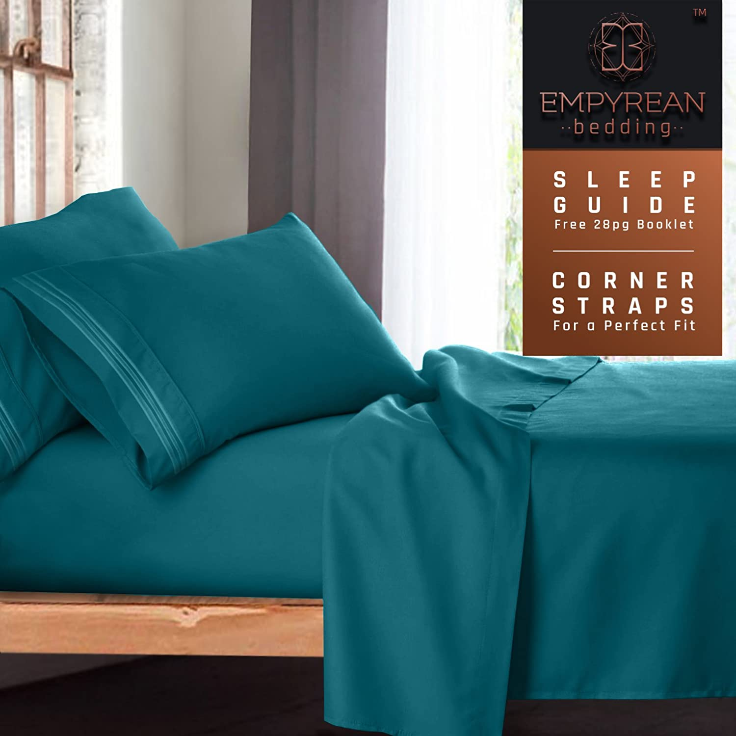 Queen Size Bed Sheets Set, Teal Turquoise - Soft Luxury Best Quality 4-Piece Bed Set