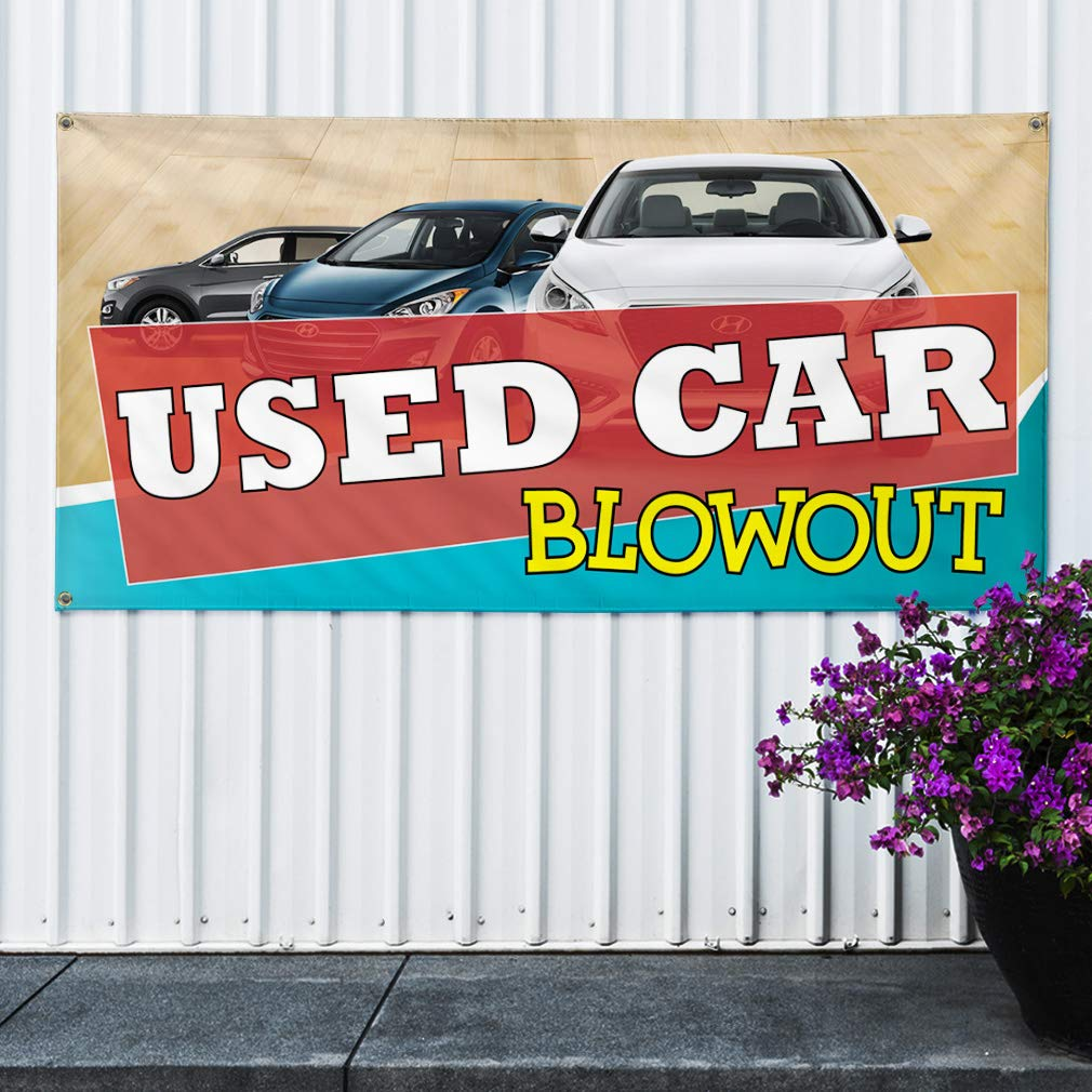 Set of 2 54inx36in Decal Sticker Multiple Sizes Used Car Blow Out #1 Style A Automotive Used Car Blow Out Outdoor Store Sign Yellow