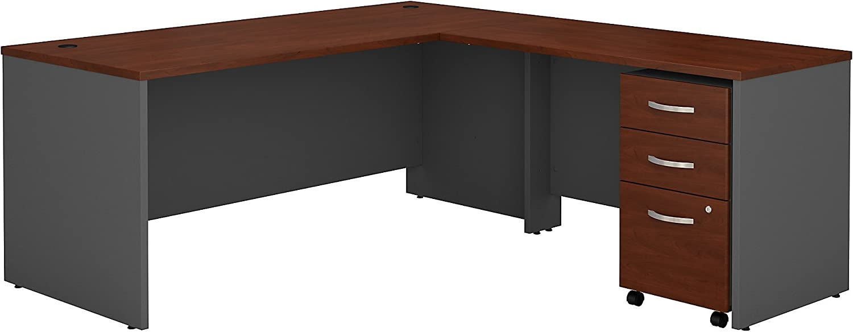 Bush Business Furniture SRC001HCSU Series C 72W L Shaped Desk with 48W Return and Mobile File Cabinet, Hansen Cherry