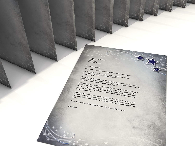 Weihnachts-Briefpapier Set Simply Stars 50 Blatt Motivpapier A4 und 50 FENSTER-Briefumschl/äge