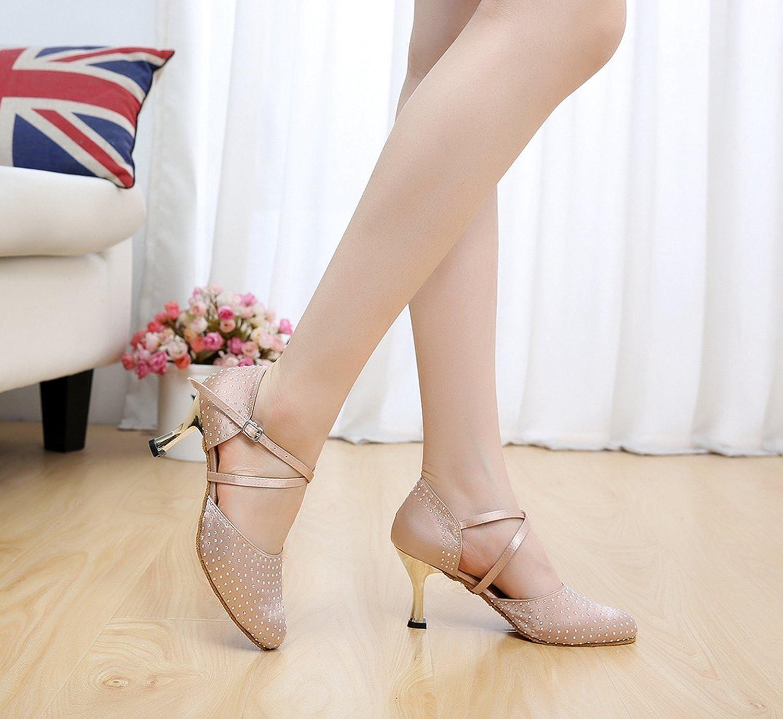 MINITOO QJ705 Womens Crystals Satin Sparkle Modern Salsa Tango Ballroom Latin Dance Shoes