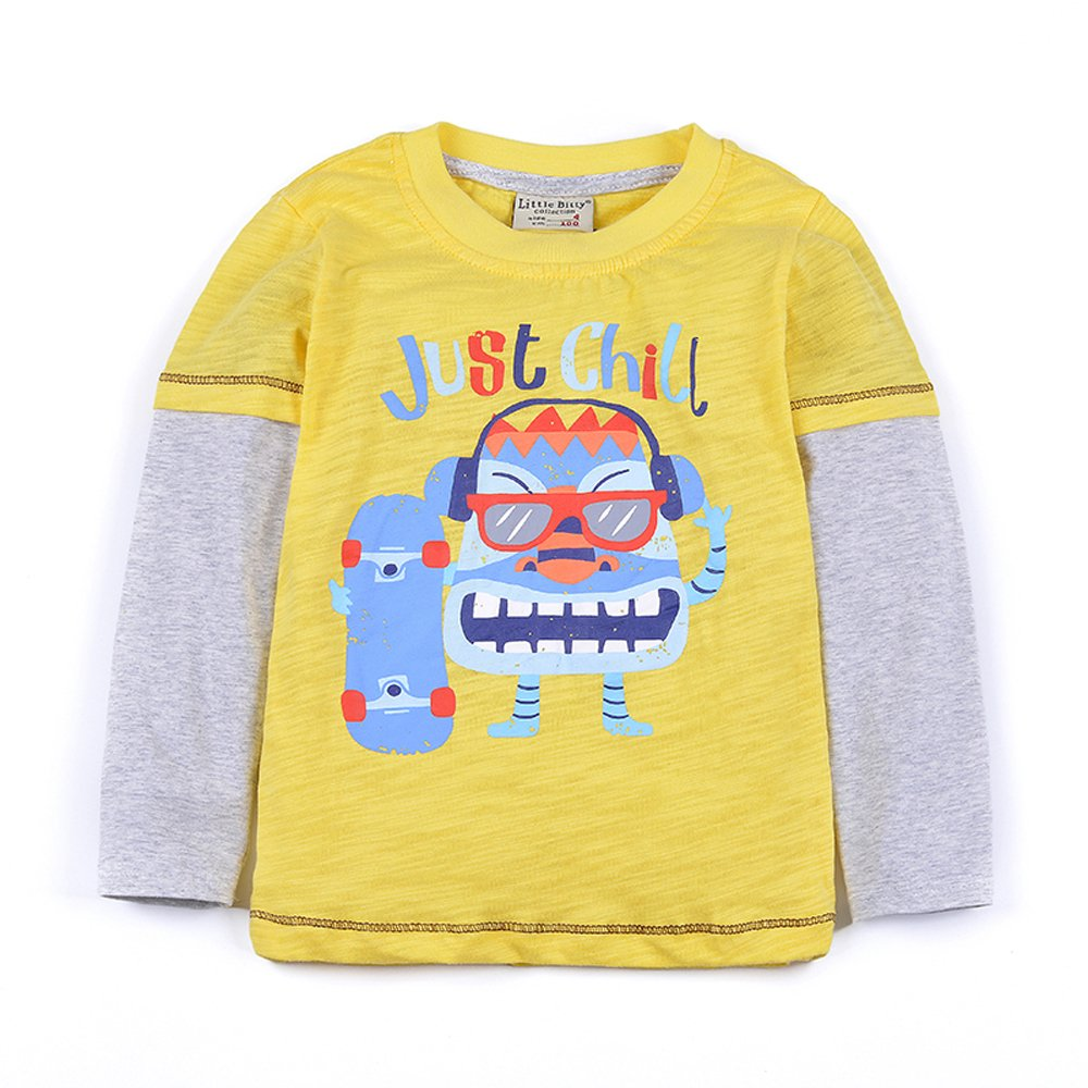 Little Bitty Boy's Long Sleeve Print Cotton T-Shirts Kid's Casual T-Shirt (6T, Yellow)
