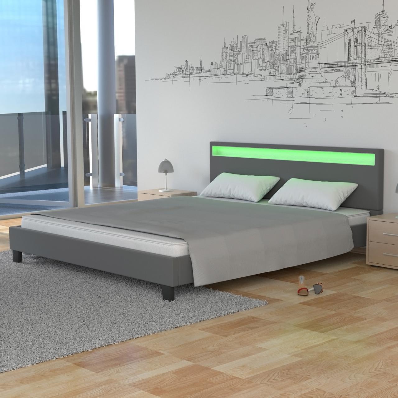 Homelux LED Bett PU Polsterbett Doppelbett Kunstlederbett ...
