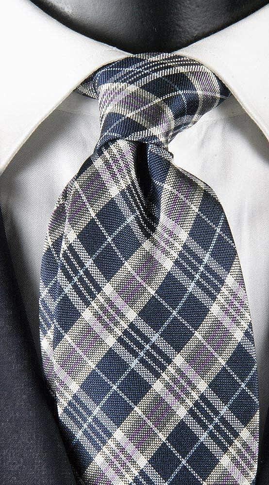 Graffeo - Corbata de hombre a cuadros azul, blanco, gris y morado Exclusive Texture: Amazon.es: Ropa y accesorios