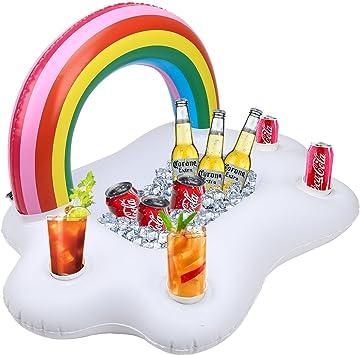 4Pcs gonflable Coasters Licorne Mini cadeaux Float Porte-gobelet pour piscine
