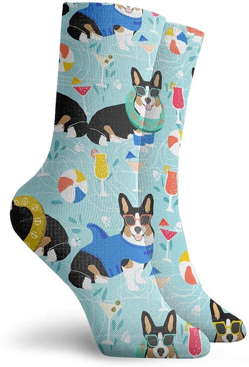 LCZ Corgi Pool Party Dogs Athletic 30cm Socks Ankle Socks Sport Casual Socks Cotton Crew Socks