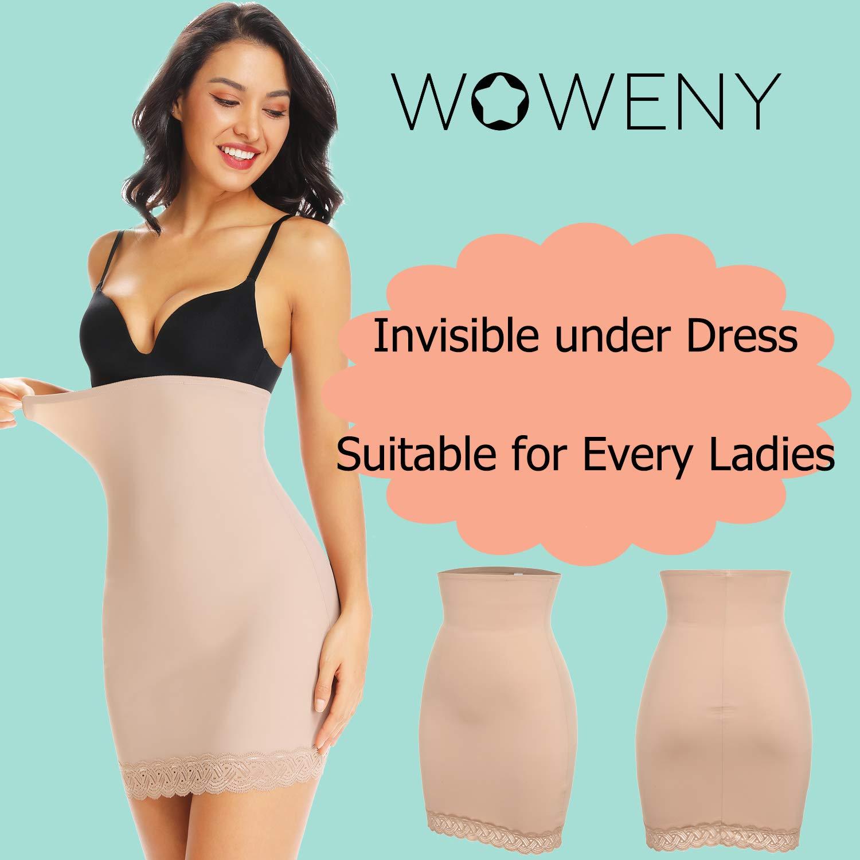 Half Slip for Under Dresses Womens Tummy Control High Waist Half Slip Shapewear for Women Lace Hem