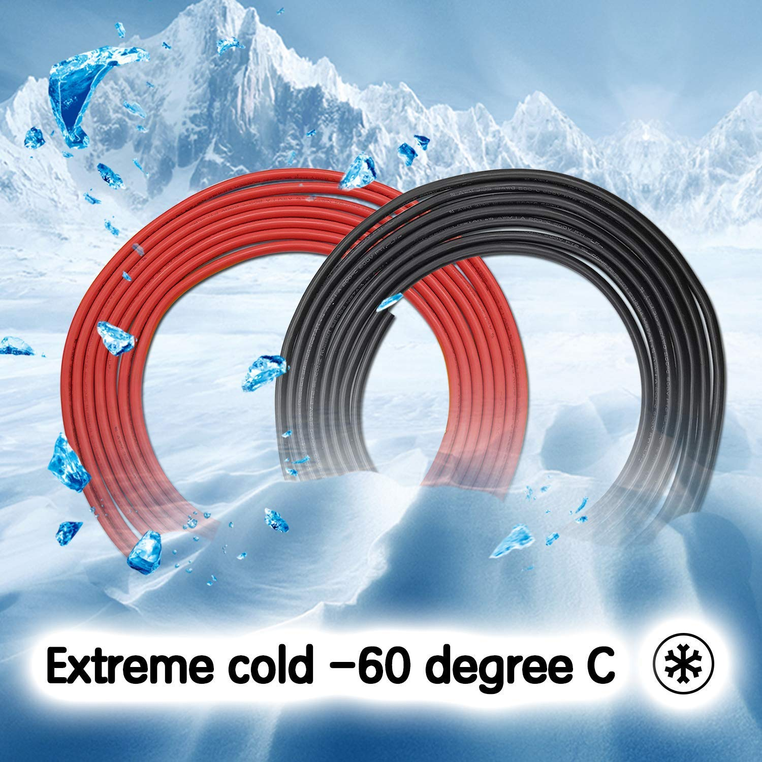 FIRMERST 12 Gauge High Temp Silicone Wire Stranded Tinned Copper UL-Listed 10 ft Black /& 10 ft Red
