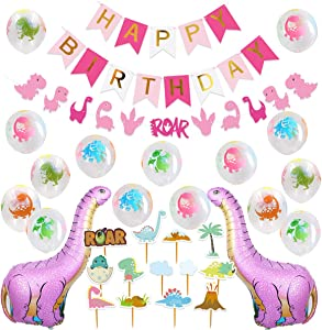 Dinosaur Party Decorations for Pink Dinosaur Balloons Garland Happy Birthday Banner for Baby 1st Birthday Baby Shower Decorations