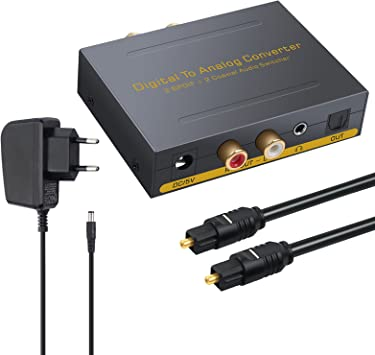 DAC Convertidor Digital Coaxial Óptica SPDIF Toslink a Estéreo Audio Analógico RCA L/R, 3.5 mm y Conmutador Óptico Jack para Apple TV PS3 PS4 DVD Sky HD BLU-Ray: Amazon.es: Electrónica