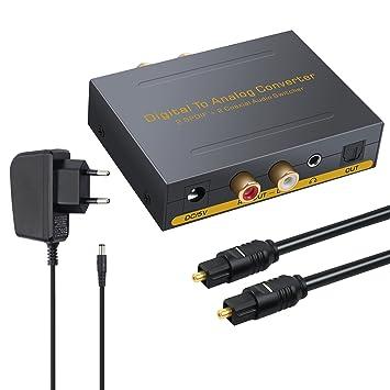 DAC Convertidor Digital Coaxial Óptico SPDIF Toslink a Audio Estéreo Analógico RCA L / R y