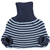 EcoAble Apparel Pull on Diaper Cover for Baby Boys and Girls, 100% Organic Merino Wool Double Knit (98-104/18-36 months, Navy/Blue Stripes)