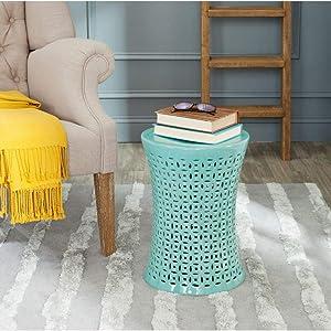 Safavieh Camilla Ceramic Decorative Garden Stool, Light Blue