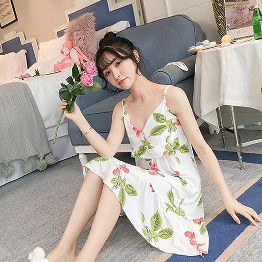 Vestido de Mujer Nuevo Pijama de Mujer Pijama de algodón de Manga Corta camisón Corto de niña con Antifaz 3 XL: Amazon.es: Hogar