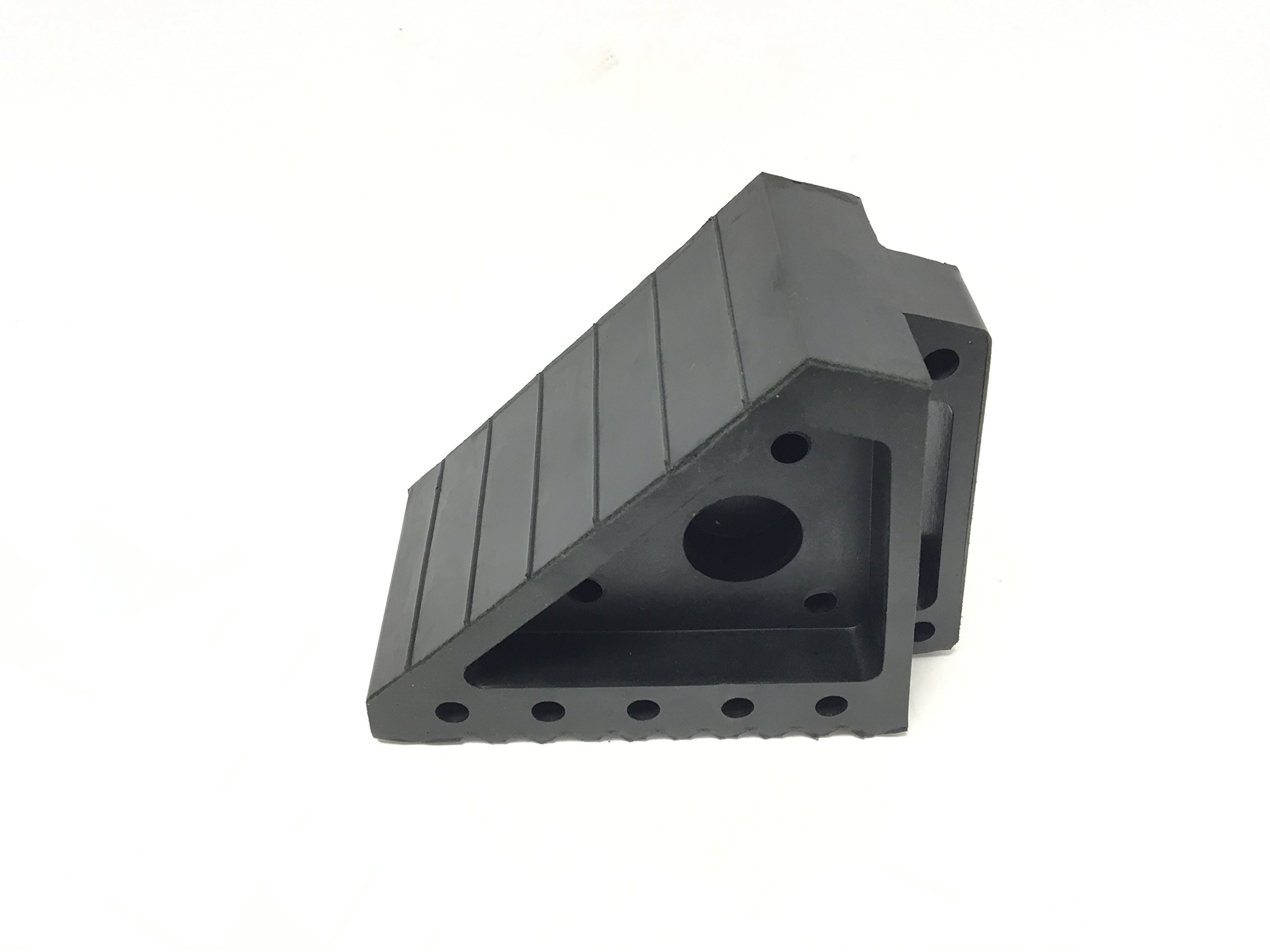 MaxxHaul 70472 Solid Rubber Heavy Duty Black Wheel Chock, 8'' long x 4'' wide x 6'' high - 2 Pack