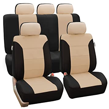 FH GROUP FB065115 Classic Khaki Full Set Car Seat Covers Airbag Compatible And