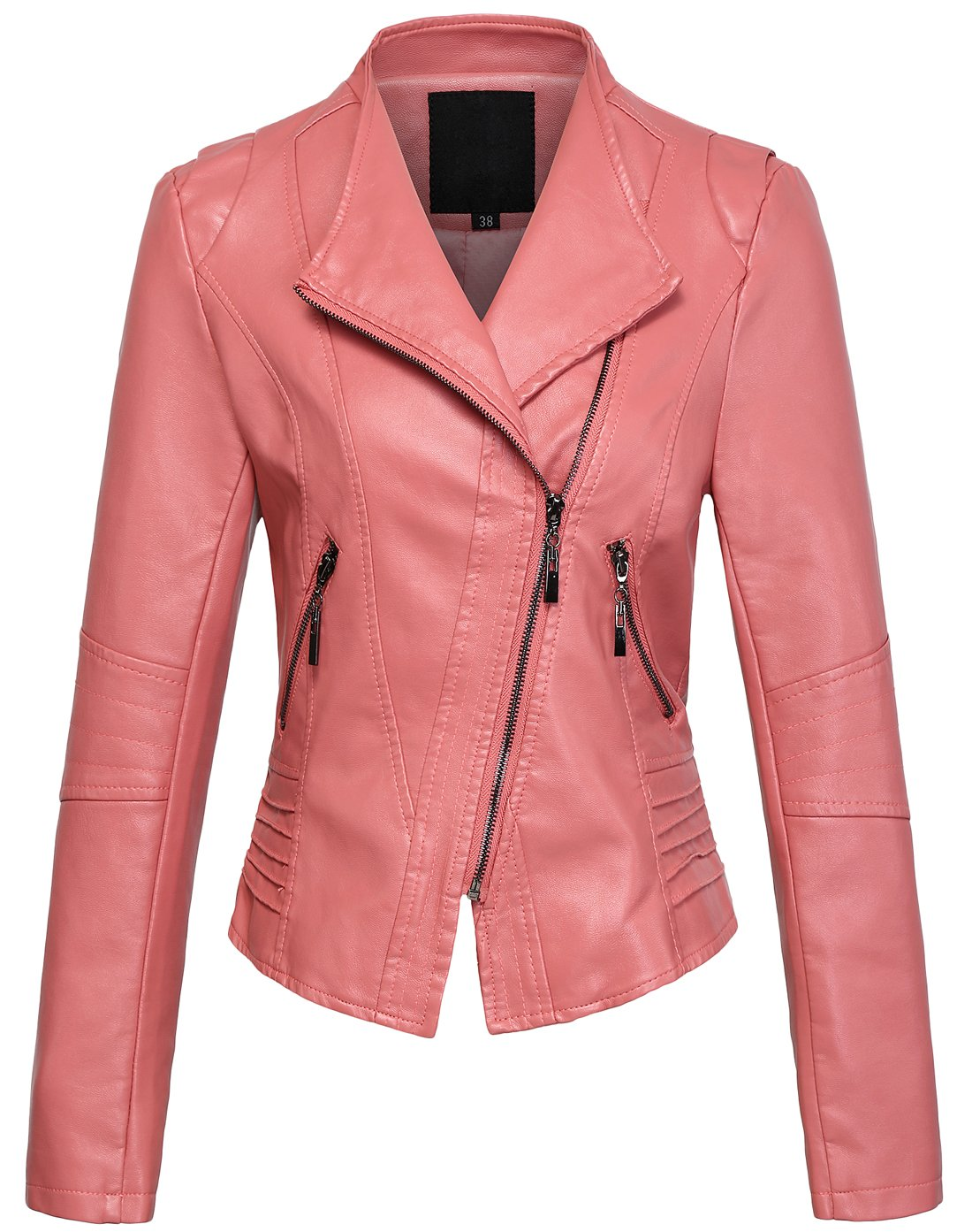Chouyatou Women's Casual Collarless Perfect Fit Cropped Pu Leather Biker Jacket (X-Small, Pink)