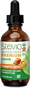 Pumpkin Spice Stevia Drops Liquid Sweet Leaf 100% Natural and Organic Sugar Substitute with Pure Sweetener Extract Stevia Glycerite PerfectDrinking and Cooking Recipe with Low Calorie Diet (1oz)