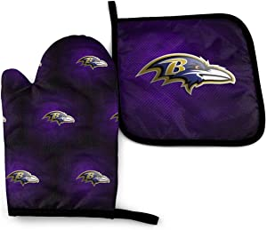 OSY Baltimore Ravens Oven Mitt Soft Insulated Heat Resistant Mitts Set and hot Pads Microwave Oven Gloves for Kitchen Baking Cooking