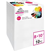 Phoenix Pre Stretched Canvas for Painting - 8x10 Inch / 10 Pack - 5/8 Inch Profile of Super Value Pack for Acrylics, Oils & Other Painting Media