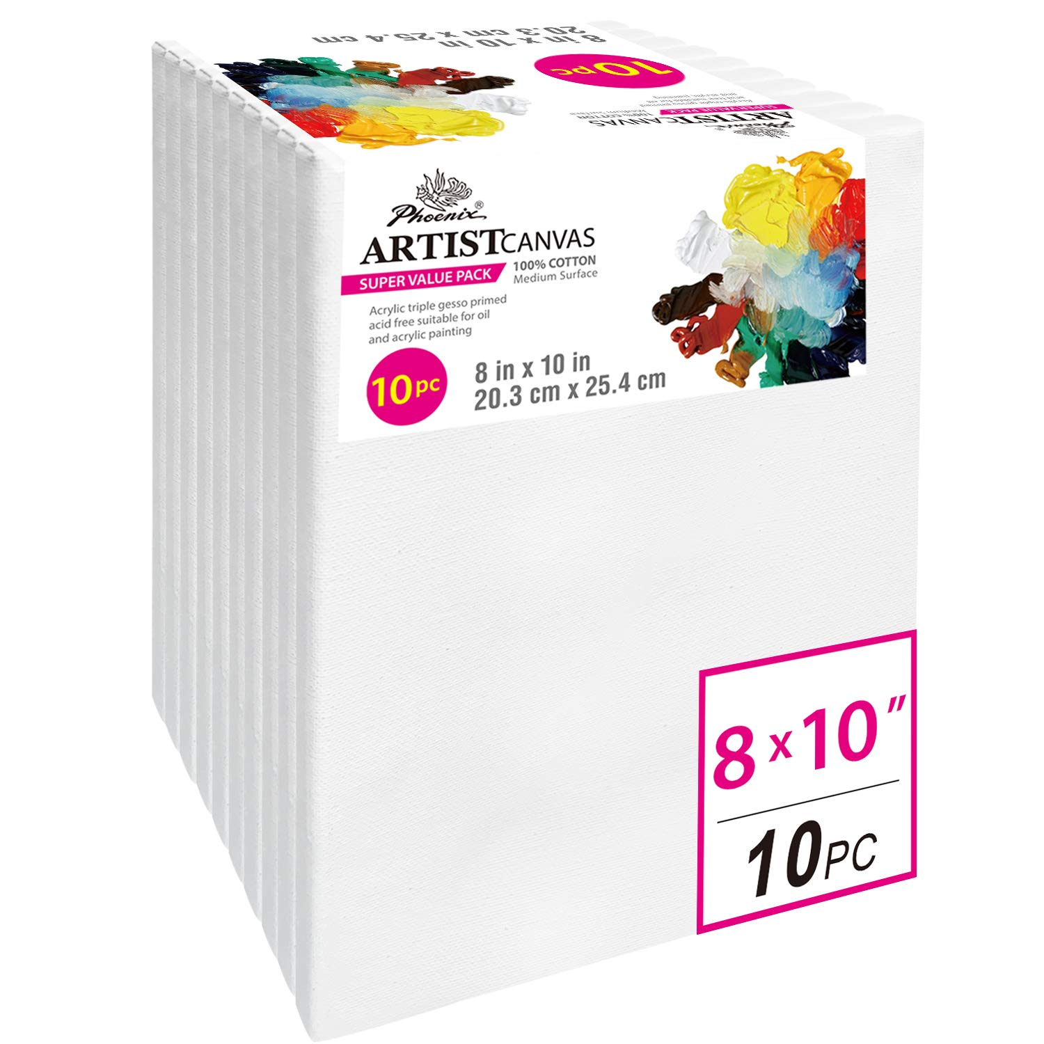 PHOENIX Pre Stretched Canvas for Painting - 8x10 Inch / 10 Pack - 5/8 Inch Profile of Super Value Pack for Oil & Acrylic Paint by PHOENIX