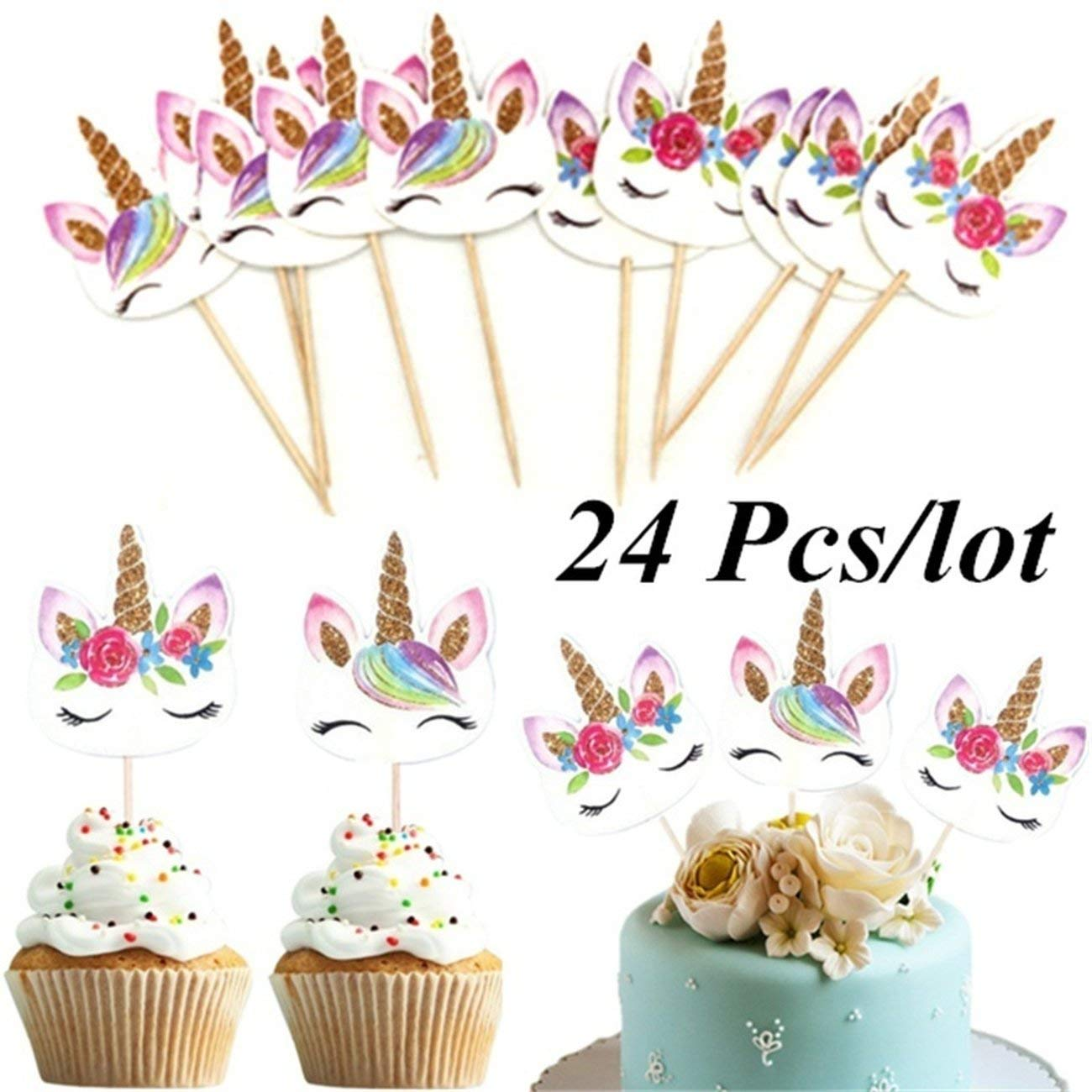 Elviray 24 Pz//Set Unicorn Cartoon Cupcake Toppers Cake Decorating Insert Card Pick Matrimonio Bambini Birthday Party Decor Forniture
