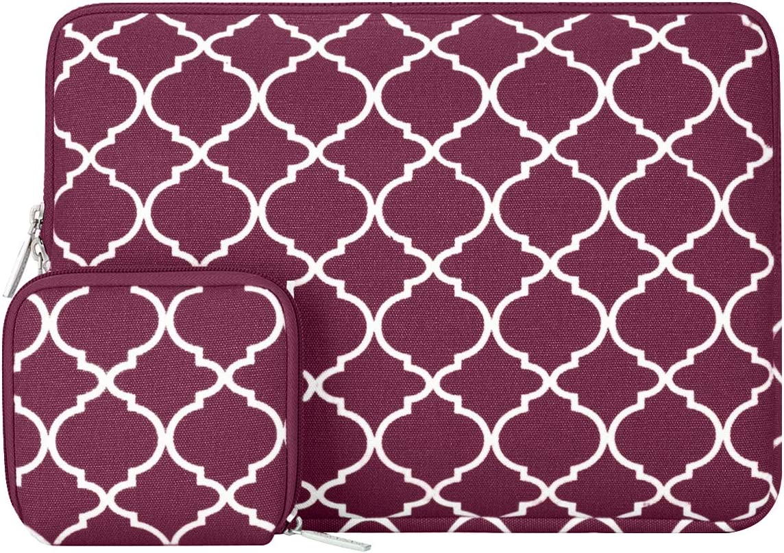 MOSISO Laptop Sleeve Only Compatible with MacBook 12 inch A1534 with Retina Display 2017/2016/2015 Release, Canvas Quatrefoil Bag Cover with Small Case, Wine Red