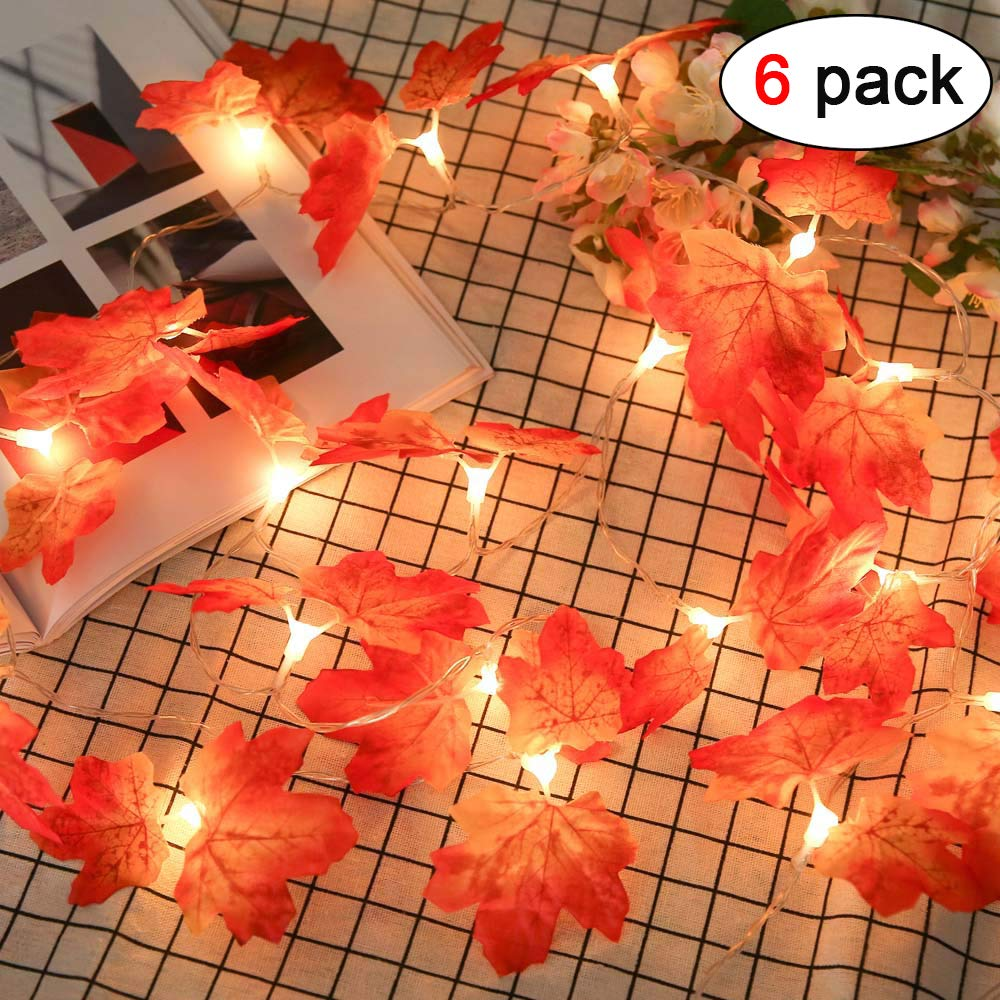 6 Pack 9.8ft Fall Maple String Lights 20 LED Lights Garland Wreath Decorations for Party Halloween Thanksgiving Christmas Festival Decor Indoor Home Outdoor Garden Patio Gift 3AA Battery Powered
