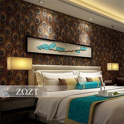 HM Papel pintado Vintage Retro estilo del sudeste asiático patrón de plumas de pavo real rollo