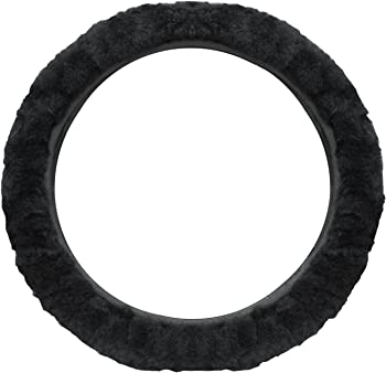 cutequeen trading Sheepskin Stretch-On Steering Wheel Cover Black
