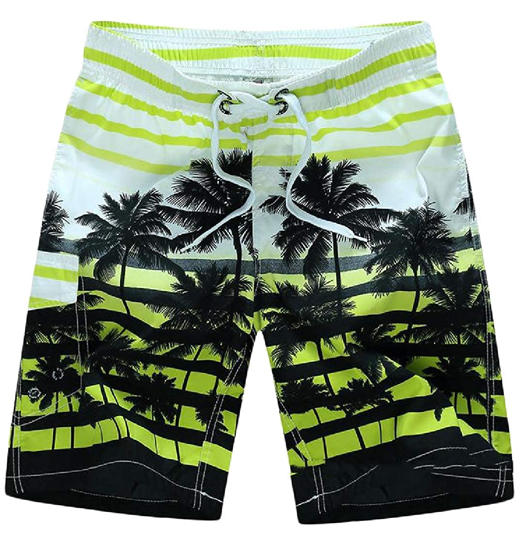 Etecredpow Men Plus Size Holiday Printed Hawaii Swim Trunks Fast Dry Summer Shorts