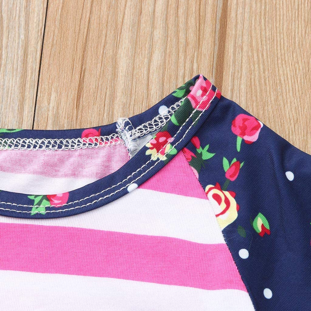 EDTO Baby Girls Clothes Striped Floral Print Tops+Hole Denim Jean Shorts Sets