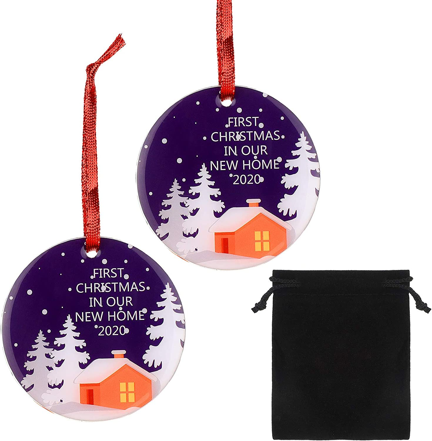 WILLBOND 2 Pieces First Christmas in Our New Home 2020 Christmas Ornament, Winter Woodland Ornament, Housewarming Homeowner Hanging Decor with Black Velvet Bag