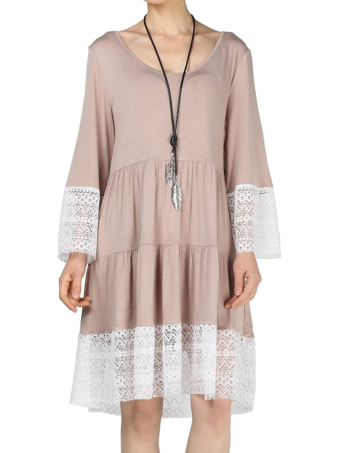 Mordenmiss Women's Flared Tunics Dress Lace Trim Boho Shirts with Side Pockets