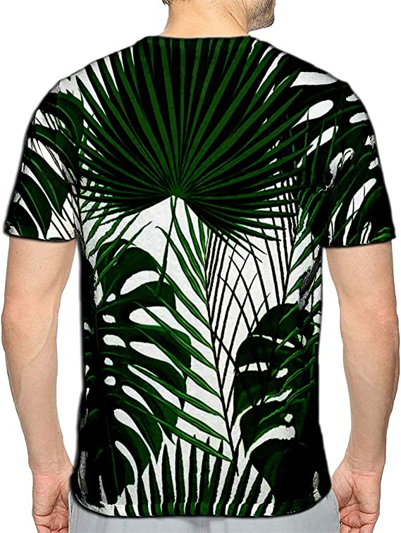 YILINGER T-Shirt 3D Printed Tropical Palm Leaves Summer Jungle Floral Casual Tees