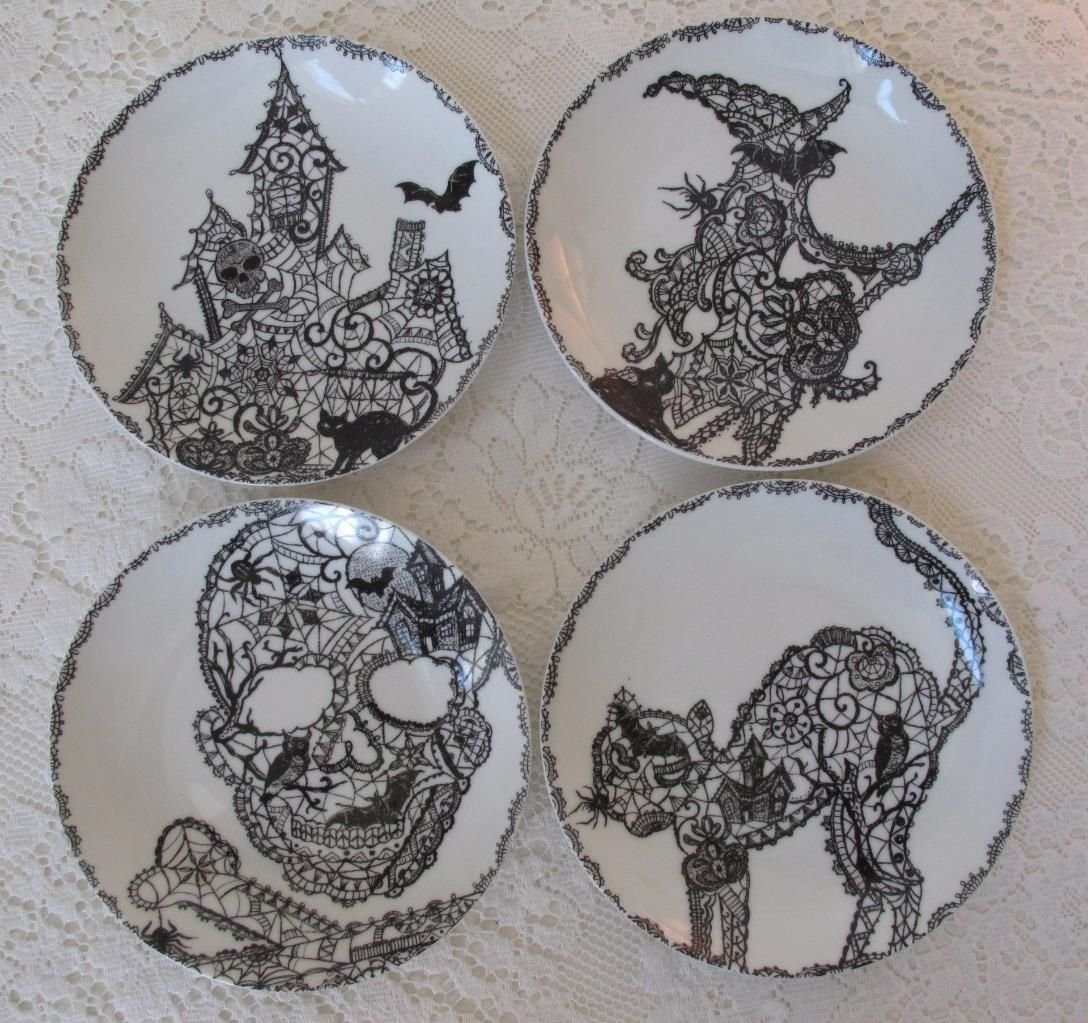 222 Fifth Halloween ''Wiccan Lace'' Snack Party Appetizer Plates 6'' Black & White Porcelain, Set of 4 Designs: Cat, Haunted House, Skull, Witch