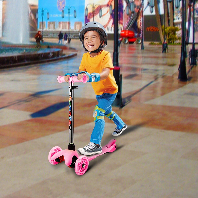 BUSYALL Mini Scooter Patinetes para Niños Niñas 3+ Años con Led Luces 3 Ruedas Plegado Rápido Inclinación a Girar, Monopatín Infantil con Manillar ...
