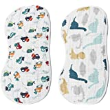 Muslin Burp Cloths Baby Burping Bibs 100% Organic Cotton 2-Pack Large 6 Layers Thick Soft Absorbent Cloth Spit Up…