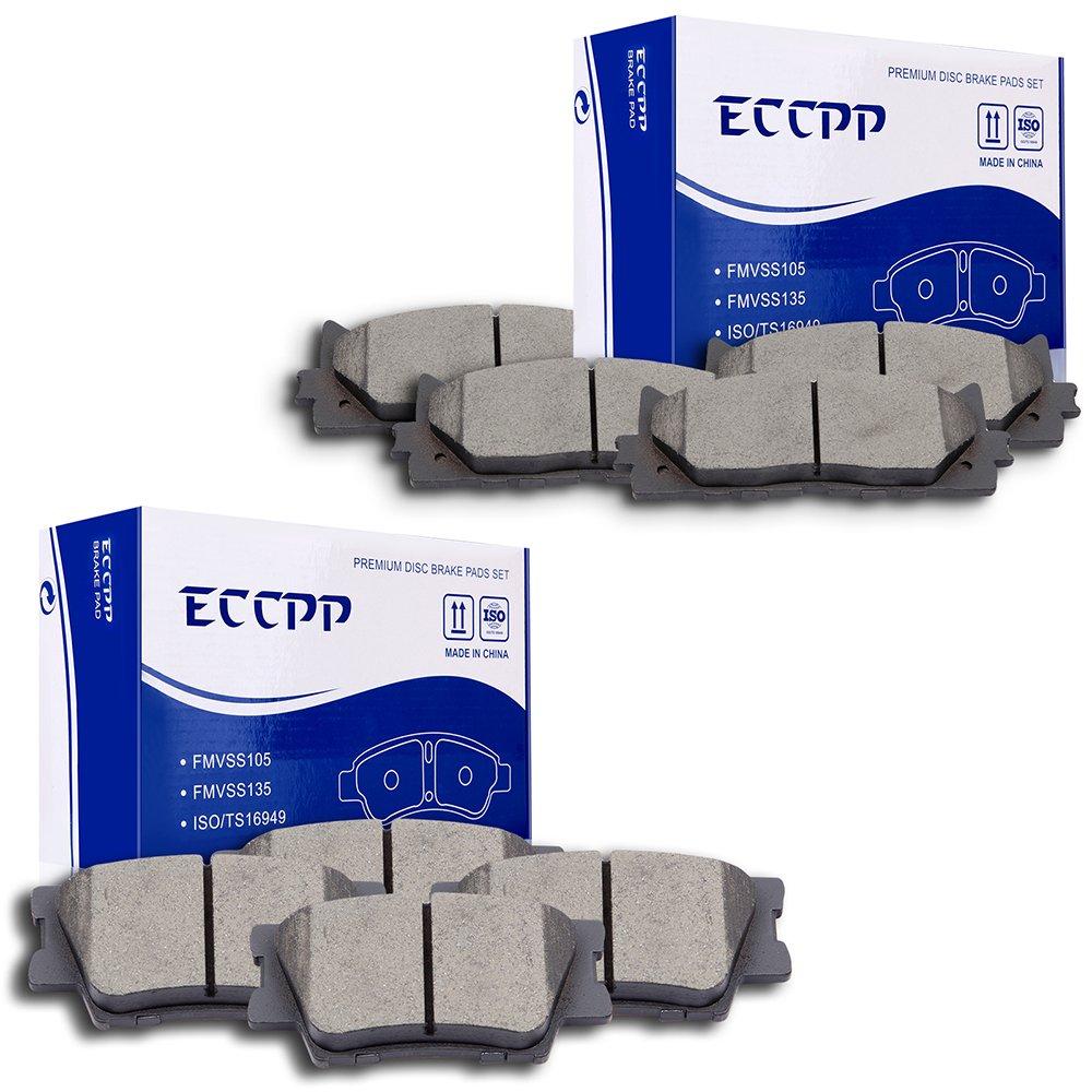 Brake Pads ECCPP 8pcs Full Set Ceramic Disc Brake Pad Kits for 2013 Lexus ES300h,2007-2013 Lexus ES350,2008-2015 Toyota Avalon,2007-2016 Toyota Camry,Front+Rear