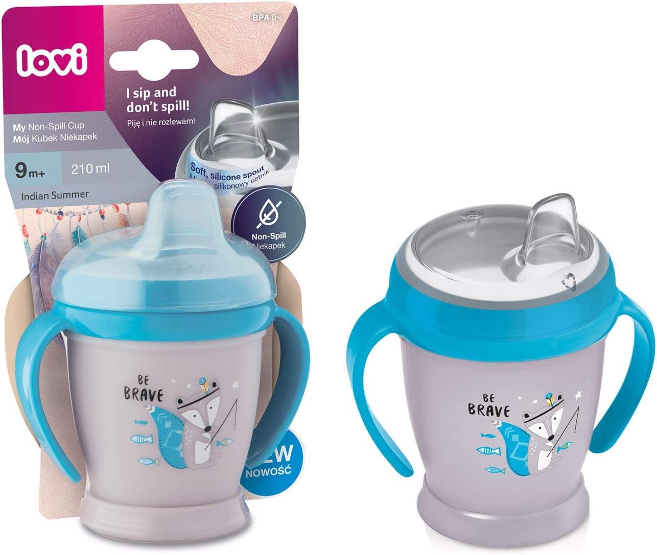 LOVI Tasse facile /à boire pour tout-petit Bec souple en silicone Ergonomique Rose Sans BPA non-d/éversement Boire sans renverser 210 ml B/écher avec poign/ée 9 mois et plus