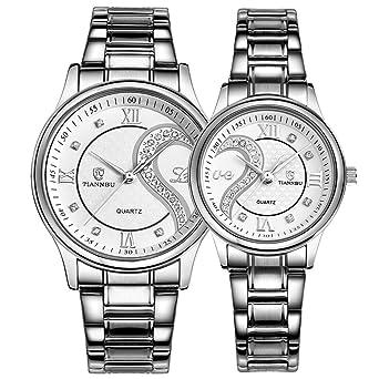 Par de relojes de cuarzo resistente al agua los relojes de pulsera para los amantes par en paquete Dial de plata banda de acero inoxidable: OOFIT: ...
