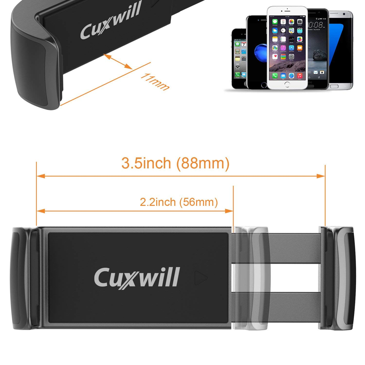 Cuxwill Dashboard and Windshield Car Mount Holder with Extendable Arm for iPhone X XS XR 8//7 6s//6 5 Smartphone and GPS