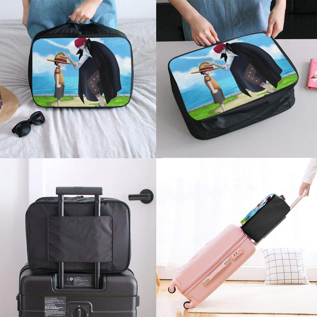 Anime One Piece Customize Casual Portable Travel Bag Suitcase Storage Bag Luggage Packing Tote Bag Trolley Bag
