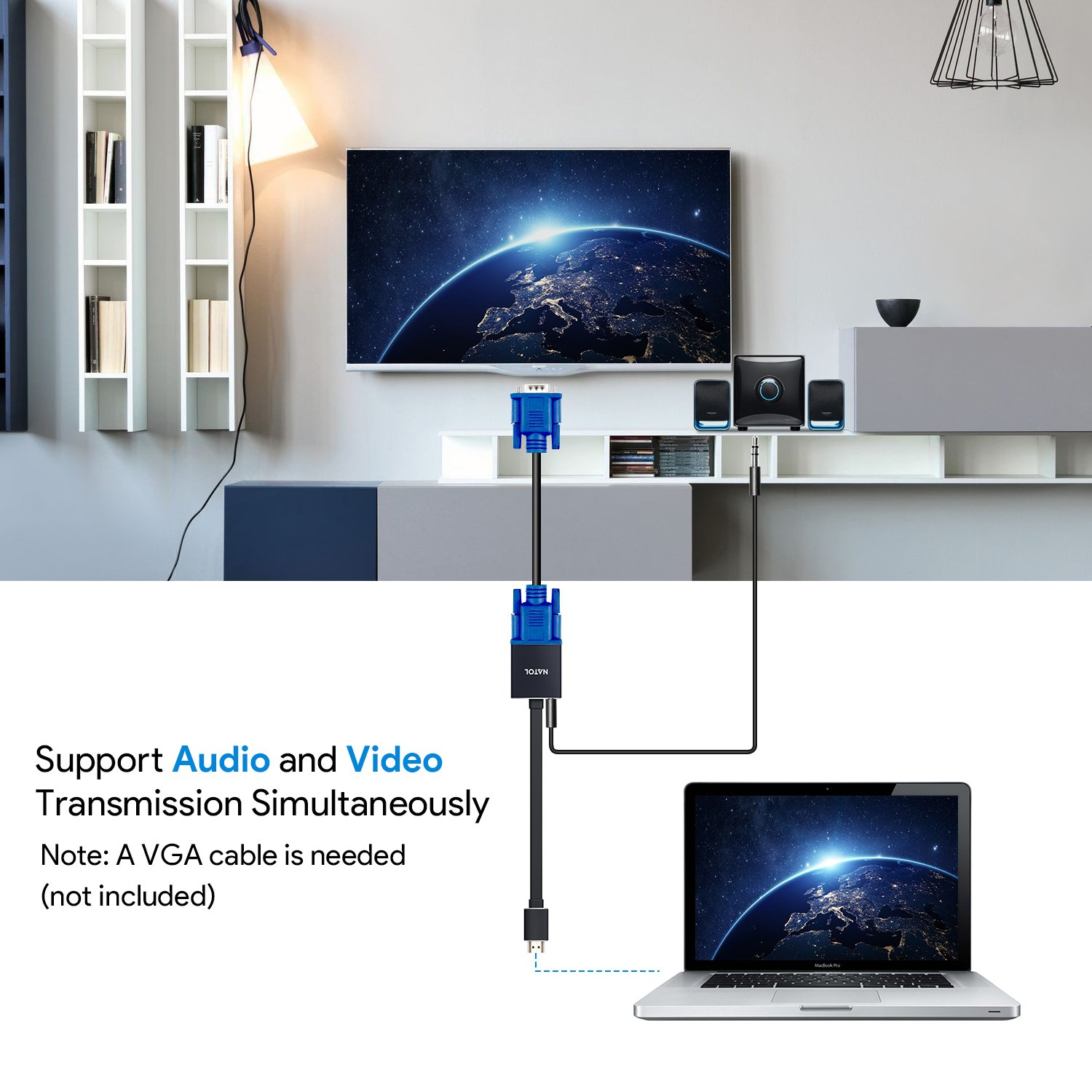 HDMI to VGA Adapter, NATOL HDMI to VGA Connector 1080P with Premium Aluminum Case, Audio Jack and Power Port for PC, Laptop, Ultrabook, Raspberry Pi, Chromebook