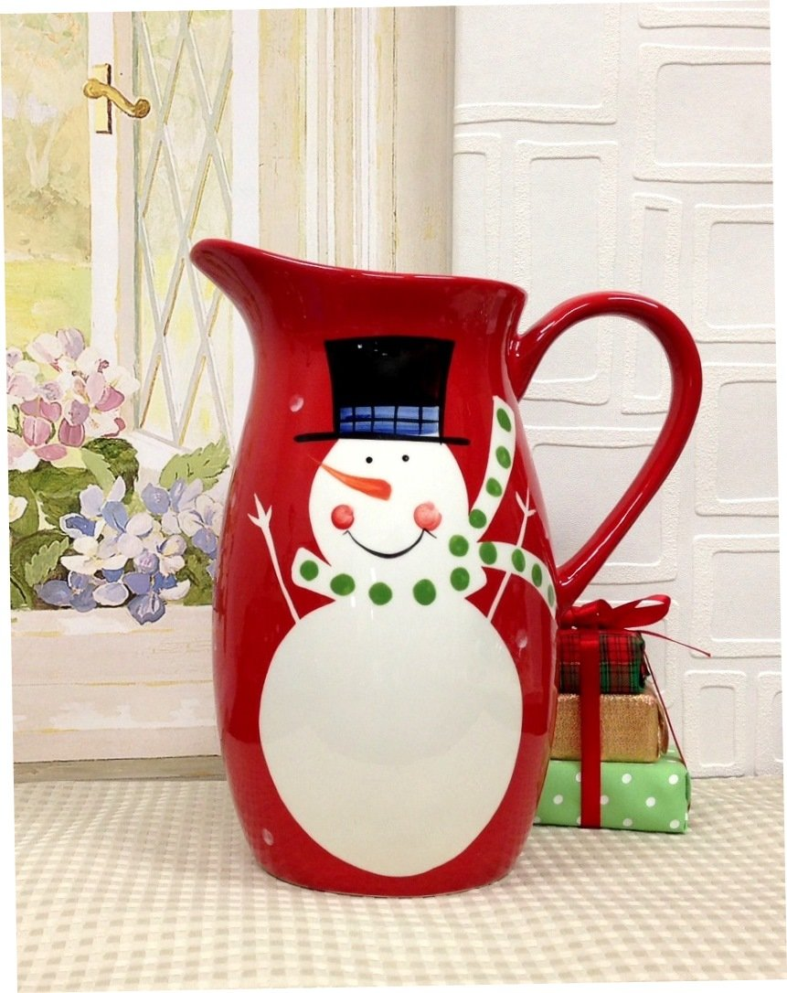 Snowman ceramic Pitcher in red and white