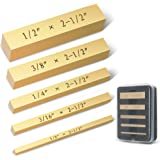 Brass Setup Blocks Height Gauge Set - Set of 5 Accurate Table Saw Accessories for Woodworkers - Bars Include Laser Engraved S