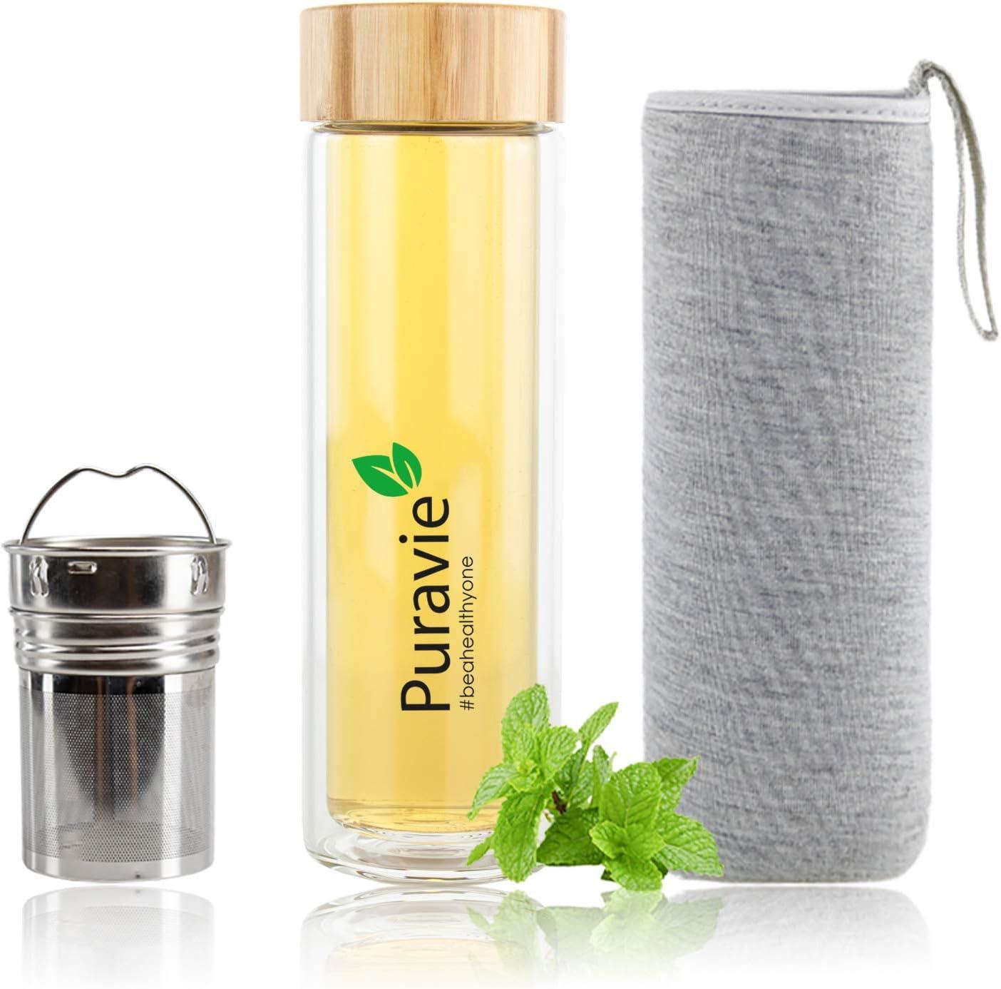 Puravie - Botella para té con filtro (filtro de té y frutas) de cristal, 450 ml, doble pared