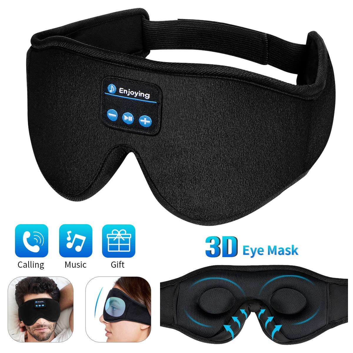 Sleep Headphones Bluetooth Eye Mask,WU-MINGLU 3D Wireless Music Eye Mask,Eye Shade Cover with Thin & HD Micro Speaker Adjustable Washable for Side Sleepers