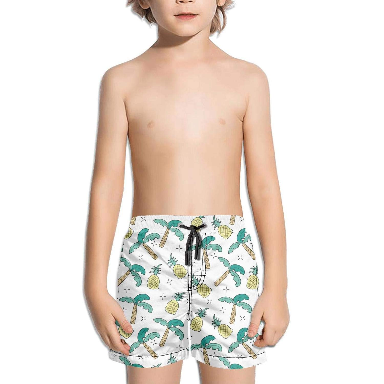 NAIT.2 Shorts Swimming Tucks for Kid Quick Dry Stretch Board Slim Fit Swim Drawstring Swimming Suits Palm Tree Pineapple