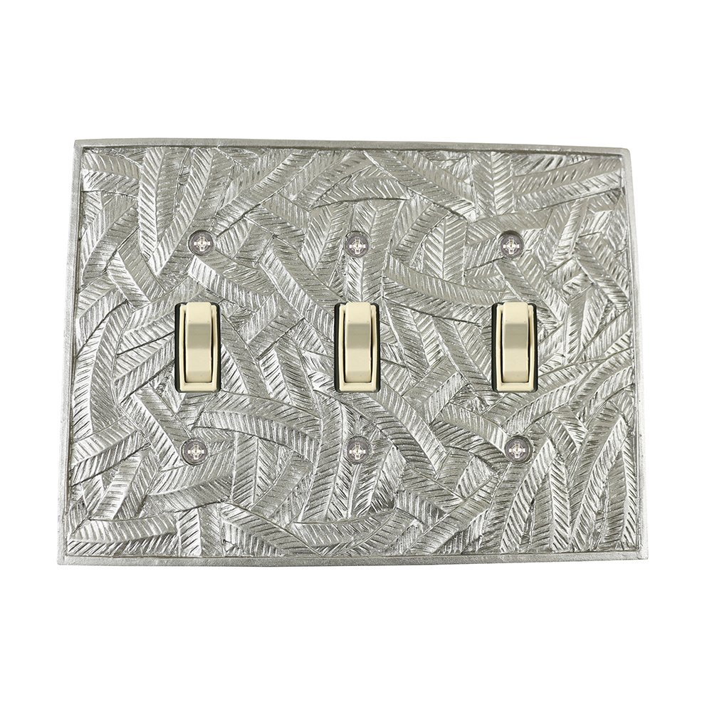 Meriville Island 3 Toggle Wallplate, Triple Switch Electrical Cover Plate, Pewter